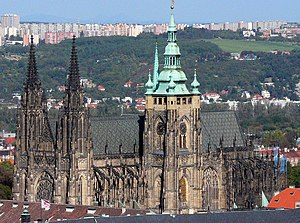 The Gothic\Neo-Gothic St. Vitus cathedral with...