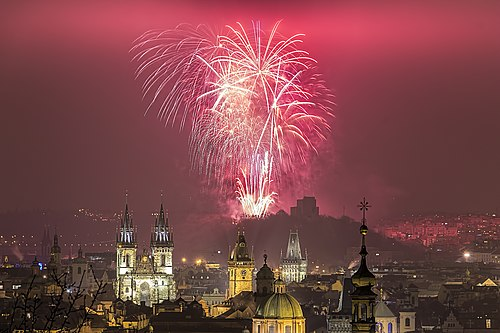 Prague New Year Fireworks Prague New Year 2016 fireworks. Happy New Year! (23741249829).jpg