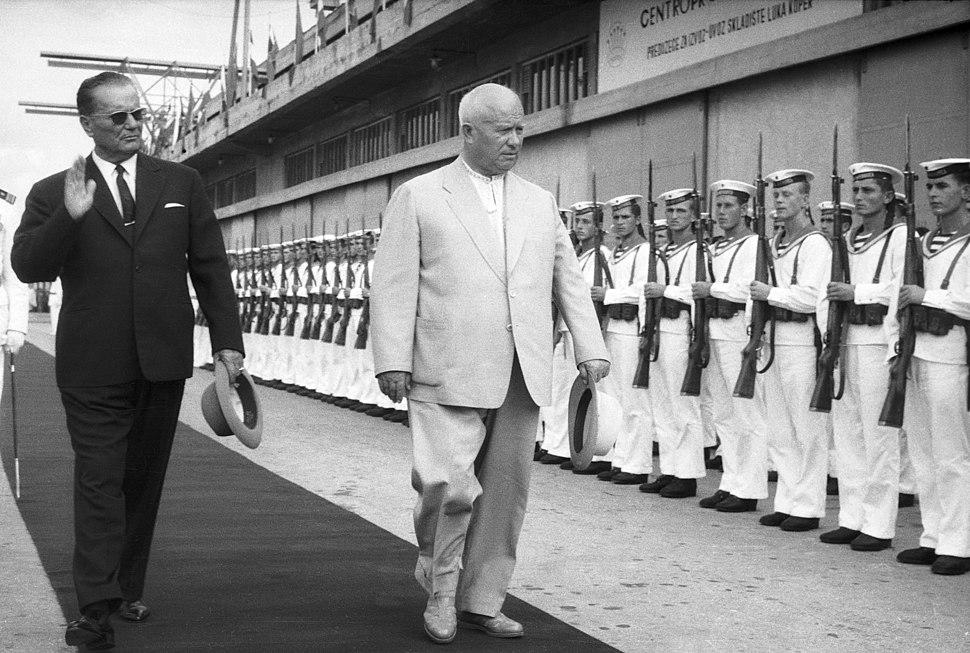 Predsednik Jugoslavije Tito in sovjetski premier Hruščov v Kopru 1963
