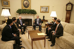 Đỗ Hoàng Điềm - Viet Tan chairman Do Hoang Diem (2nd from right) meets with U.S. President George Bush and Vice President Dick Cheney on May 29, 2007 urging the president to increase pressure on Vietnam to respect human rights