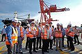 President Rodrigo Duterte is flanked by officials of the Davao International Container Terminal.jpg