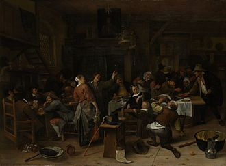 Rampjaar - Prince's Day by Jan Steen (ca. 1665): Supporters of the Prince of Orange drink to the health of the Nassau line on the Prince's birthday.