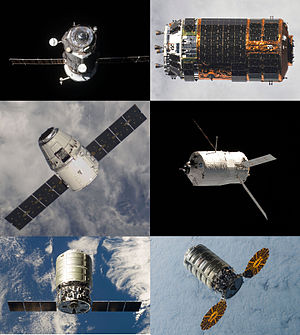 Cargo spacecraft - A collage of automated cargo spacecraft used in the past or present to resupply the International Space Station