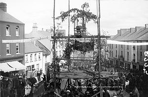 Lughnasadh - The Puck Fair circa 1900, showing the wild goat (King Puck) atop his 'throne'