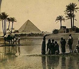 Gran Pirámide de Giza en una tarjeta postal del siglo XIX.