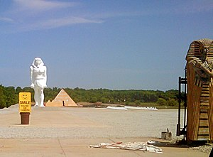 Wadsworth, Illinois - The pyramid house and statues as seen from behind the walls.