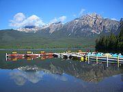 Kayaking provided by a lakeside resort in Jasper, Alberta
