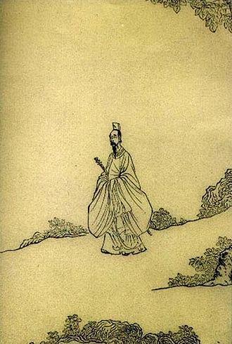 Chu Ci - Qu Yuan Sang while Walking (Quzi xingyin tu 屈子行吟圖), by Chen Hongshou (1616)