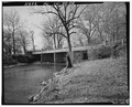 Quarter view, looking southwest. - Pendleton Avenue Bridge, Spanning Fall Creek, Pendleton, Madison County, IN HAER IND,48-PEN,1-6.tif