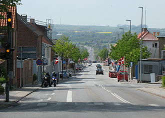 Rønde - Looking down Rønde's main street
