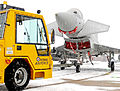 RAF Typhoon Jet is Towed from its Hangar at RAF Coningsby in the Snow MOD 45152131.jpg