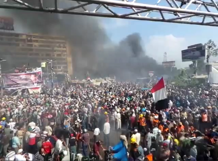 Rabaa al-Adawiya during the violent dispersal of pro-Morsi sit-ins, 14 August 2013 Rabaa al-Adawiya.png