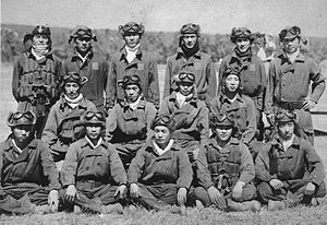 25th Air Flotilla - Enlisted fighter pilots of the Tainan Naval Air Group, part of the 25th Air Flotilla, pose at Lae in 1942. Several of these aviators would be among the top Japanese Naval aces, including Saburō Sakai (middle row, second from left), and Hiroyoshi Nishizawa (standing, first on left).