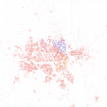 Map Of Racial Distribution In Omaha 2010 U S Census Each Dot Is 25 People White Black Asian Hispanic Or Other Yellow