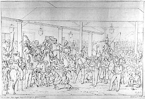 The Arrest of Pangeran Diponegoro - Saleh's sketch for the painting (1856)