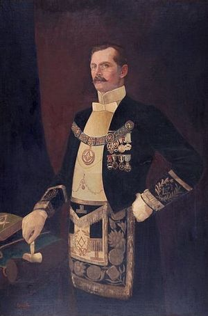 Oliver Russell, 2nd Baron Ampthill - A portrait in Masonic dress by Raja Ravi Varma.