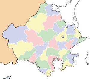 Locator map for the state of Rajasthan