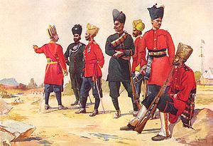 119th Infantry (The Mooltan Regiment) - A depiction of a subedar of the 119th Infantry (third from left) amongst other British Indian Army troops