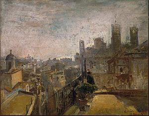 Ramon Martí Alsina - View of Barcelona from a Rooftop in  Riera de Sant Joan (1889)
