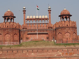 "Red Fort - Every year on the Independence day of India (15 August), the Prime Minister hoists the Indian ""tricolour flag"" at the main gate of the fort and delivers a nationally broadcast speech from its ramparts here."