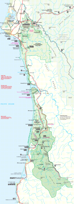 Map illustrates Redwood National and State Par...