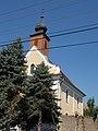 Reformed Church and Blue Spruce trees, 2016 Bonyhad.jpg
