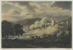 "John Warwick Smith - The Castle at Abergavenny, by John ""Warwick"" Smith, c.1790"