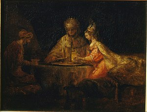 Jan Jacobszoon Hinlopen - Ahasuerus and Haman at the feast of Esther, by Rembrandt (1660). Pushkin Museum, Moscow