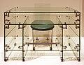 René coulon, sedia e scrivania partner's, vetro di st. gobain, rivetti e cinghie di metallo, 1940 ca.jpg