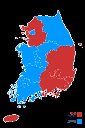 South Korean local elections, 2014 - Image: Republic of Korea local election 2014 result (metropolitan city or province)