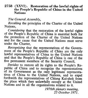 United Nations General Assembly Resolution 2758 United Nations General Assembly resolution adopted in 1971