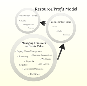 Resource profit model - Interdependencies of components within the resource/profit model