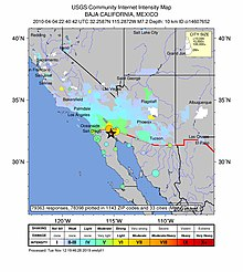A map showing the affected area. It shows the intensity of quakes, as well as the cities affected.