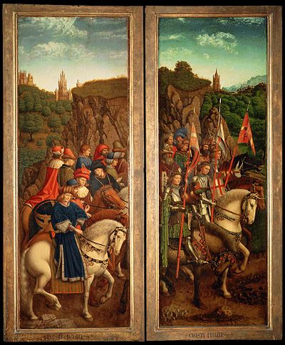 Knighted cavalry and noblemen, painting by Jan van Eyck (c. 1390-1441). Retable de l'Agneau mystique (8).jpg