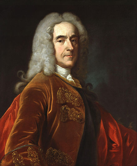 Lord Cobham, Pitt's commanding officer and political mentor. Pitt was part of a group of young MPs known as Cobham's Cubs.