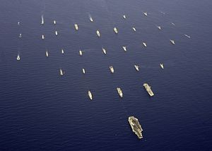 Blue-water navy - USS Abraham Lincoln leads a formation of ships from eight countries during the RIMPAC exercise in 2006.