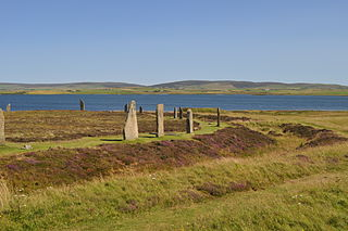 Ring of Brodgar Neolithic henge and stone circle on Mainland, Orkney, Scotland