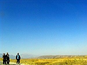 Batken Region - Road and field in Batken