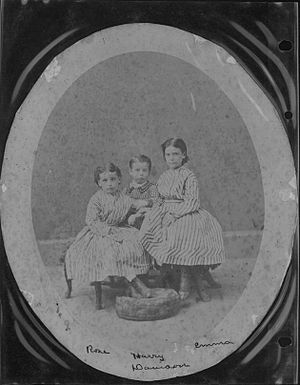 Emma Ahuena Taylor - Emma (right) with her siblings: Rose and Harry, c. 1870s
