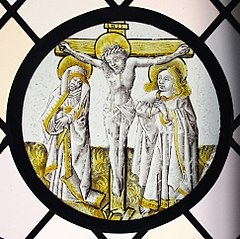 Roundel with Crucifixion, the Virgin and Saint John