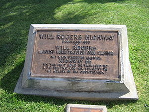 U.S. Route 66 in California - Will Rogers Monument at the western terminus of Route 66 in Santa Monica
