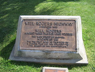 U.S. Route 66 in California - Will Rogers Monument near the western terminus of Route 66 in Santa Monica