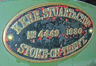 Kerr, Stuart and Company - Kerr Stuart works plate from GWR 57XX Class 0-6-0PT 7714 No.4449 of 1930