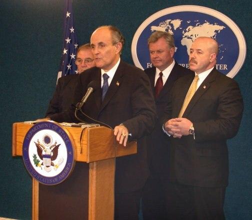 Rudy Giuliani at a NYFPC briefing
