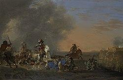 Jan Asselijn: Ruitergevecht bij zonsondergang.