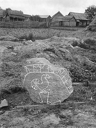 Södermanland Runic Inscription 245 - Photograph of Sö 245 taken in 1900 by Erik Brate.