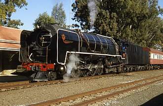 South African Class 25NC 4-8-4 - No. 3410 at Sannaspos, Free State, 4 July 1999