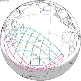 Carte de l'éclipse générale