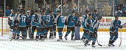 The Sharks celebrate a 4-0 victory over the Phoenix Coyotes on December 11, 2006