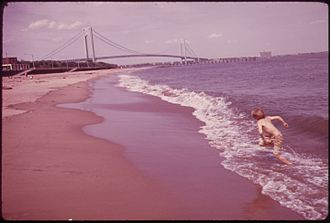 South Beach, Staten Island - South Beach and Verrazano-Narrows Bridge, 1973.  Photo by Arthur Tress.